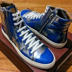 Bally Metallic Patent Leather High-Top Sneakers